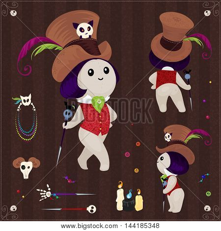 Magical Voodoo accessories. Large collection of voodoo dolls beads bones and pins.