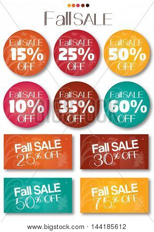 Fall sale tag set vector no shadow on the eps. text is outline