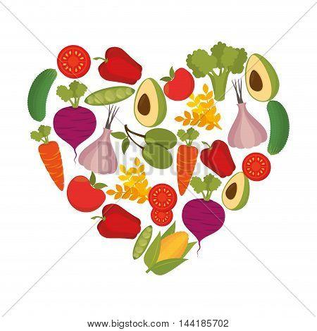 healthy food heart love nutrition natural organic vector illustration