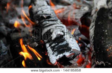 Red embers and fire flames closeup royalty free stock photo