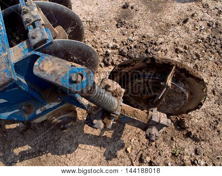 Disc harrows of Tractor working on Dried Land