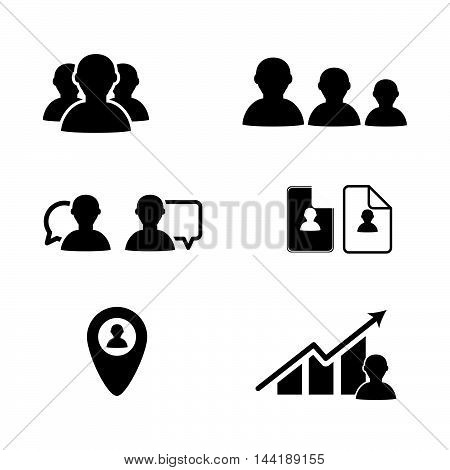 Bussines Icon People In Black Color Illustration