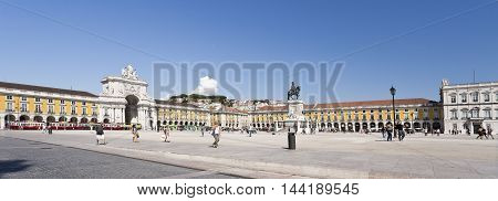 LISBON, PORTUGAL - September 30, 2015: Panoramic view of the north and east side of the Commerce Square the Lisbon main public square on September 30, 2015 in Lisbon, Portugal