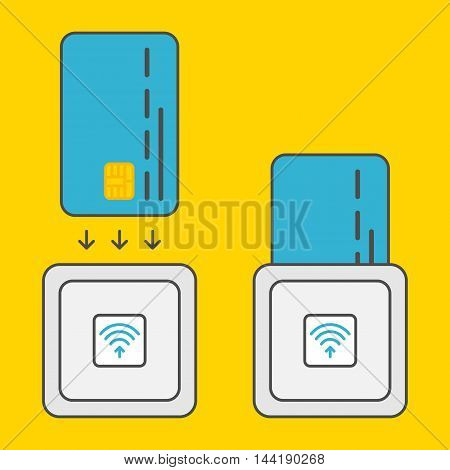 EMV chip card square contactless reader vector colorful illustration. Secure transaction emv chip card reader creative concept. Emv chip card wireless payment technology graphic design. EMV reader technology.
