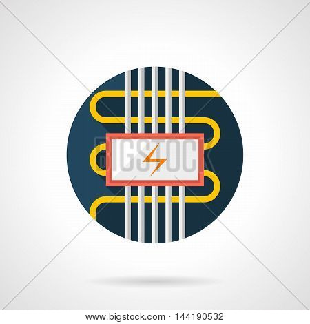 Cable electric floor heating symbol. Installing services for flooring, house renovation, seasonal improvement. Underfloor heated systems. Colored round flat design vector icon.