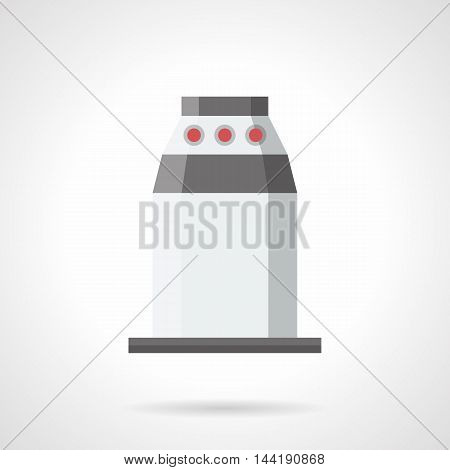 Contemporary underground turnstile with red LEDs and automated check system. Barrier and stopper theme. Equipment for subway, stadium and other public places. Flat color style vector icon.