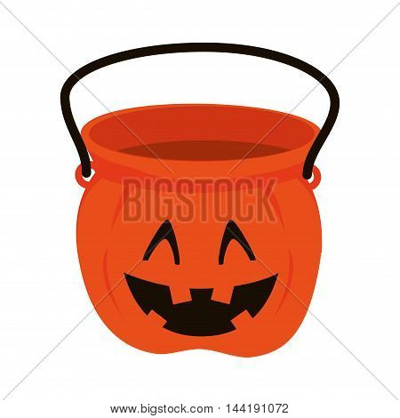 pumpkin bucket of halloween season trick or trick vector illustration