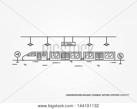 Subway underground railway station line vector illustration. Monorail underground railway station train railroad platform creative linear concept. Subway underground railway station graphic design.