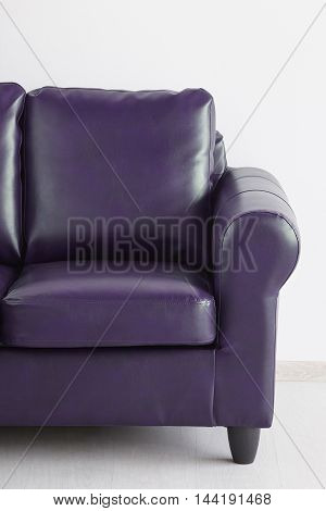 Leather sofa isolated against the white wall
