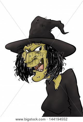 A maniacal wicked witch plotting something nefarious.