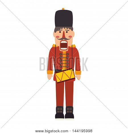nutcracker toy man soldier christmas traditional symbol vector illustration