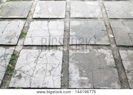 Outdoor cement brick floor in garden stock photo