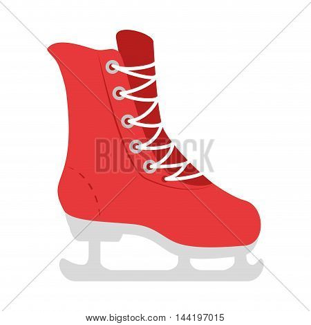 ice red skate winter sportwear equipment shoe vector illustration