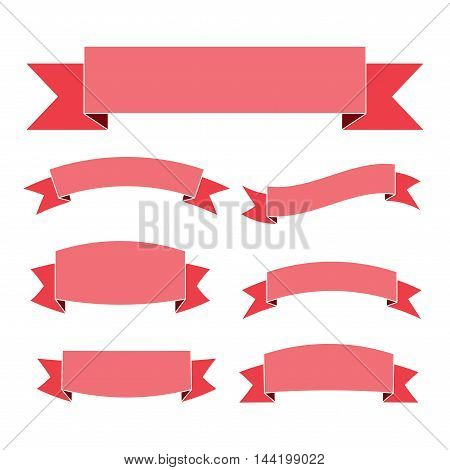 Pink ribbon banners set. Beautiful blank for decoration graphic. Old vintage style Flat design. Premium decorative elements isolated on white background. Template collection labels Vector illustration