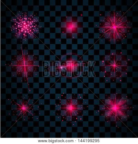 Pink shine stars with glitters sparkles icons set. Effect twinkle glare scintillation element sign graphic light. Transparent design elements dark background. Varied template. Vector illustration