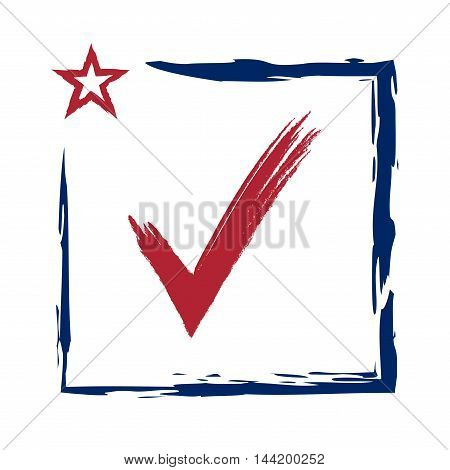 Presidential election USA sign with swoosh. Blue and red design on white background for voting campaign. Vote patriotic mark. Symbol of political patriotism. Vector illustration