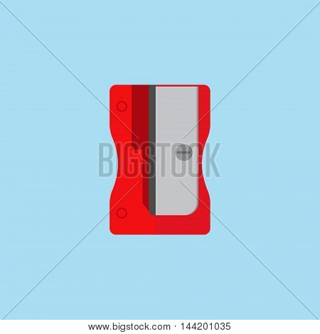 Vector illustration red pencil sharpener isolated on blue background. Sharpener flat icon.