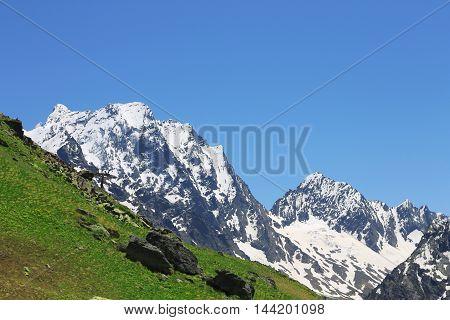 Caucasus mountains summertime. The Dombai mountain landscape