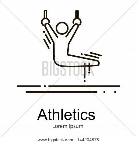 Gymnastics athlete at gymnastics rings doing exercise, sport competition vector illustration