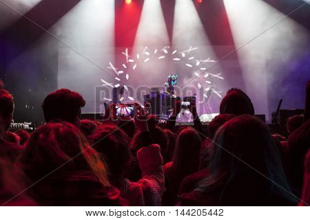 Bontida, Romania - July 14, 2016: Slow Magic DJ performing live on the stage at Electric Castle festival, one of the biggest music festivals in Romania