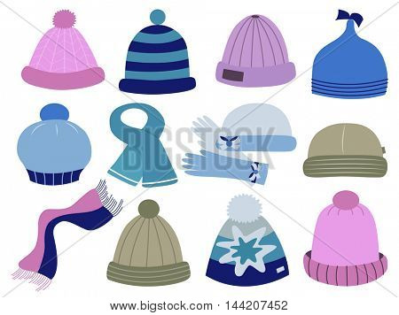 collection of knitted woolen caps (vector illustration)