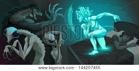 Fighting scene between my astral body and aliens. Vector illustration