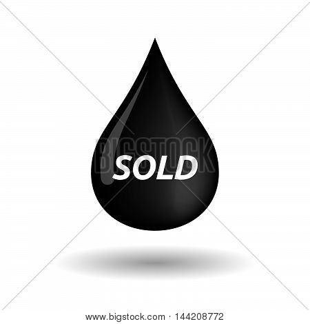 Isolated Oil Drop Icon With    The Text Sold