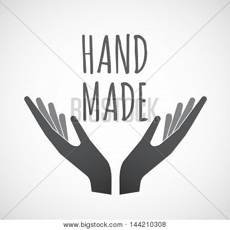 Isolated Hands Offering Icon With    The Text Hand Made