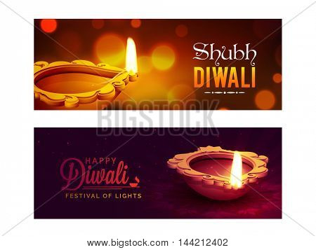 Creative website header or banner set, Glowing background with realistic oil lamps (Diya) decoration, Beautiful vector for Indian Festival of Lights, Happy Diwali (Shubh Diwali) celebration.