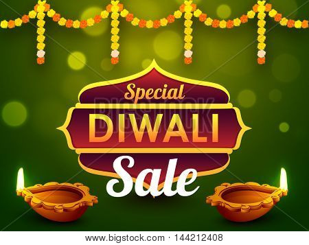 Special Diwali Sale Banner, Discount Offer Flyer or Poster, Beautiful flowers and illuminated oil lamps (Diya) decorated traditional background, Indian Festival of Lights celebration concept.