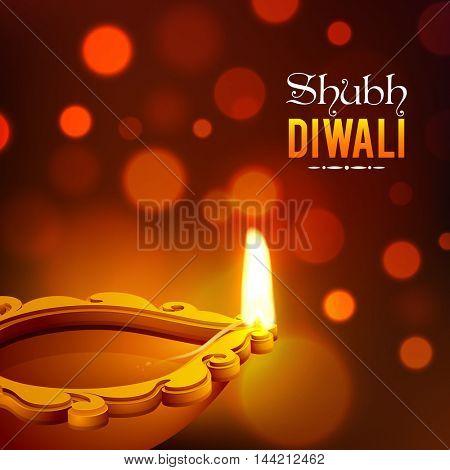 Elegant Illuminated Oil Earthen Lamp on shiny background for Indian Festival of Lights, Happy Diwali Celebration.