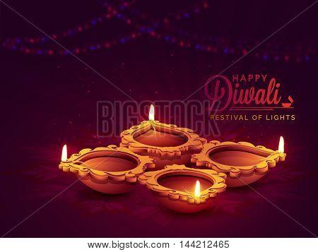Elegant view of Illuminated Oil Lit Lamps on floral rangoli, Vector greeting card design for Indian Festival of Lights, Happy Diwali Celebration.