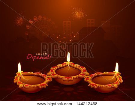 Elegant Illuminated Oil Earthen Lamps on shiny fireworks night city background, Vector illustration for Indian Festival of Lights, Happy Diwali Celebration.