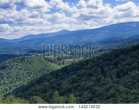 Beautiful hilly landscape with forest in Silesia Poland