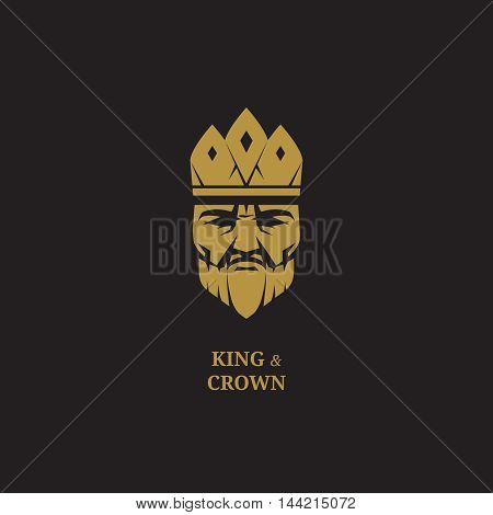 King logo. Royal logo. Luxury logo. King face logo. King and crown logo. Crown logo. King icon. King business logo. King fantasy logo. King emblem. King badge. Golden king logo