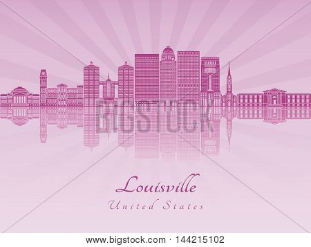 Louisville skyline in purple radiant orchid in editable vector file