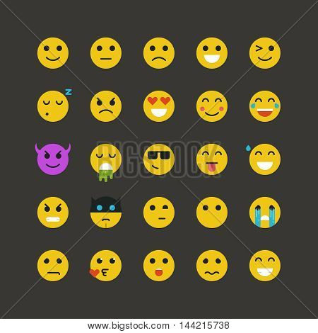 Set of flat yellow emoticons on white background. Vector emoticons illustration. Emoticons vector set. Emoticons web icons. Emoji iocns. Smiley faces. Set of Emoticons. Set of Emoji. Smile icons.