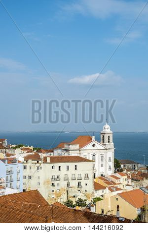 Panoramic Of Alfama District  In Lisbon