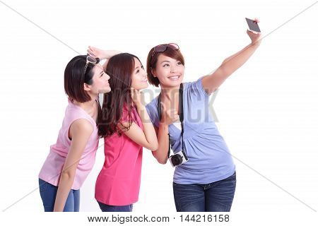 Happy teenagers woman taking pictures by themselves isolated on white background asian
