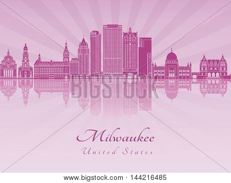 Milwaukee skyline in purple radiant orchid in editable vector file