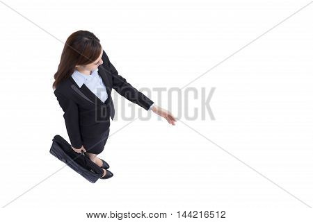 business woman is shake hands to you with isolated blue background