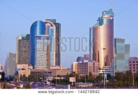 Modern the high-rise buildings in the Astana city, Kazakhstan