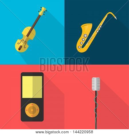 Set of great flat icons with style long shadow icon and use for music, instrument, electronic, culture, art and much more.