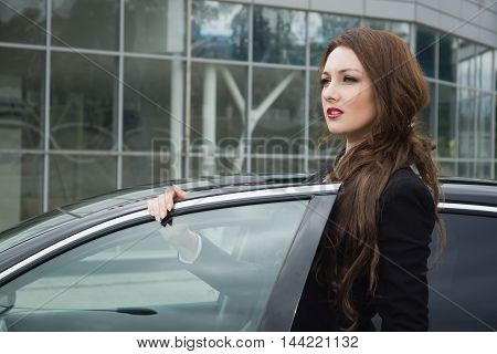 Business Woman Standing In The Street Background Car