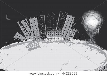 Nuclear bomb explosion with a ruined city in the foreground concept of disaster illustration in black and white