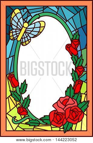Stained Glass Illustration Featuring a Butterfly Hovering Over Roses