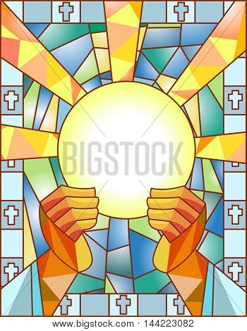 Stained Glass Illustration Featuring a Priest Breaking the Bread