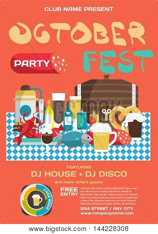 Party invitation disco style flyer. Still life of food and beverages on the rating tablecloths Oktoberfest. Beer mugs bottles barrel sausages ham snack. Vector flat cartoon illustration