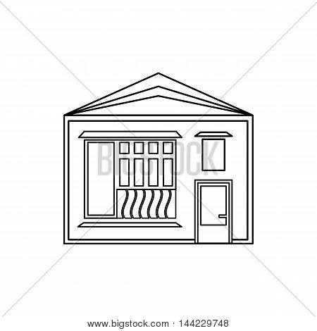 One storey house with sloping roof icon in outline style isolated on white background. Building symbol