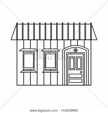 One storey house with two windows icon in outline style isolated on white background. Building symbol